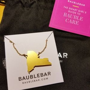 BaubleBar New York Acrylic State Pendent in Gold